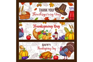 Thanksgiving day vector harvest greeting banners