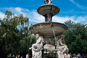 Danubius Fountain in Budapest a sunny day of summer