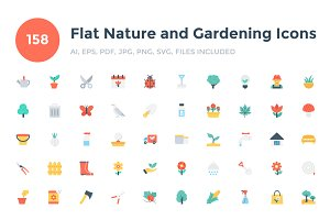 158 Flat Nature and Gardening Icons