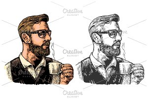 Hipster barista with the beard holding a cup of hot coffee.