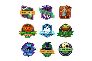 Halloween holiday party trick treat vector icons