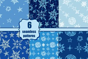 Seamless starry pattern set
