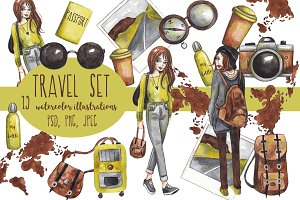 Watercolor travel set. PNG, PSD