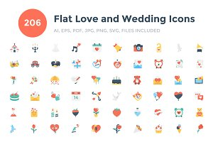 206 Flat Love and Wedding Icons