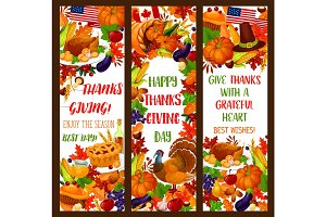 Thanksgiving banner set for autumn holiday design