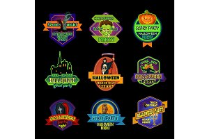 Halloween holiday night label or ghost party badge