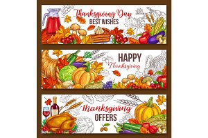 Thanksgiving day vector sketch harvest banners