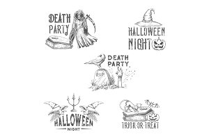 Halloween night party vector sketch icons