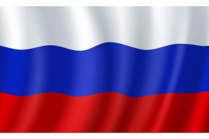 Russia 3D flag. Vector Russian national symbol