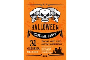Halloween skull banner for costume party template