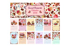 Bakery shop vector dessets calendar 2018