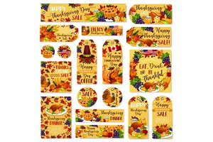 Thanksgiving day vector sale poster, banner, label