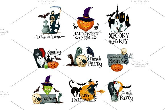 Halloween holiday symbol of pumpkin, ghost and bat