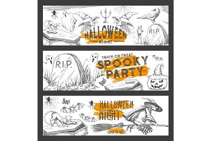 Halloween night vector sketch party banners