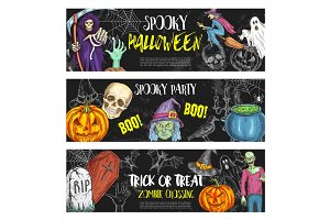 Halloween night party vector sketch banners
