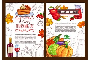 Thanksgiving day sketch holiday vector poster