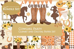 Cowgirl Sunflower Clipart+Pattern