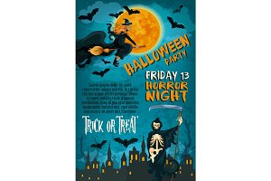Halloween friday horror party vector poster