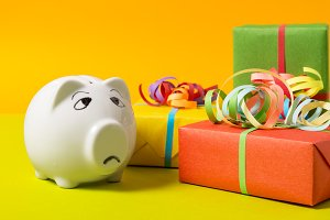 Piggy Bank with gift boxes