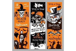 Halloween vector banners for holiday horror night