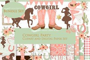 Cowgirl Peach Clipart+Pattern