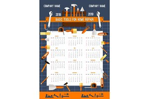 Vector 2018 calendar template of work tools