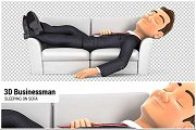 3D Businessman Sleeping on Sofa