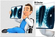 3D Doctor Looking at X-Ray