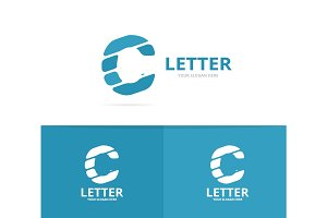Unique vector letter C logo design template.