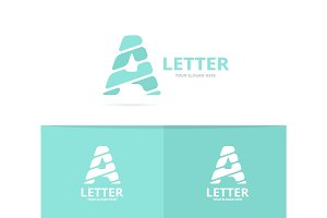 Unique vector letter A logo design template.