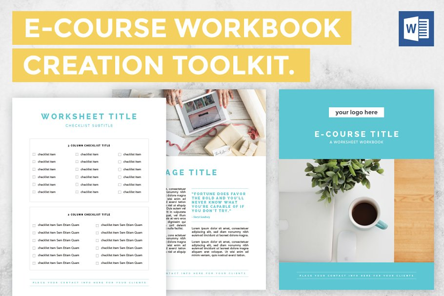 E-Course Worksheet Toolkit - Word ~ Templates ~ Creative Market