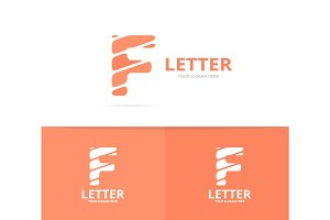 Unique vector letter F logo design template.