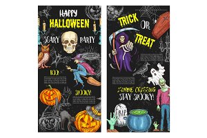 Halloween trick or treat party vector posters