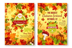 Autumn of fall seasonal sale and discount promo