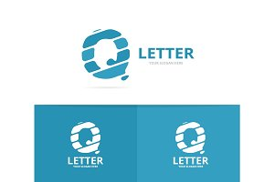 Unique vector letter Q logo design template.