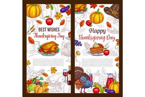 Thanksgiving day sketch vector greeting posters