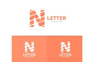 Unique vector letter N logo design template.