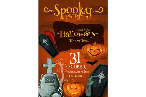 Halloween spooky party vector night poster