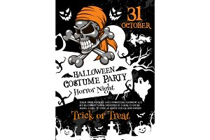 Halloween horror party poster with spooky skull