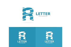 Unique vector letter R logo design template.