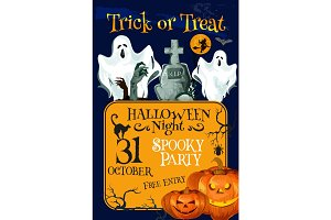 Halloween holiday trick treat horror party poster