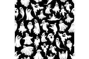 Halloween spooky ghost vector seamless pattern