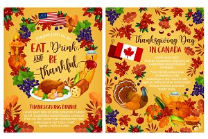 Thanksgiving day vector Canadian greeting posters
