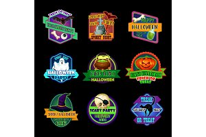 Halloween holiday icon and horror party label