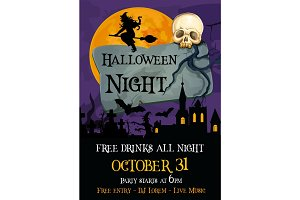 Halloween holiday party spooky night vector poster
