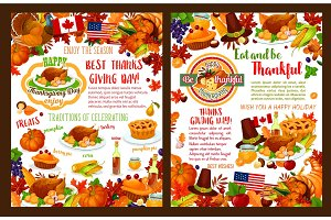 Thanksgiving day autumn holiday vector banners
