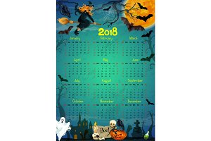 Halloween holiday horror vector calendar 2018