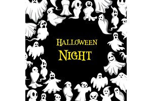Halloween ghost pattern vector night poster