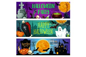 Halloween party banner with ghost on cemetery