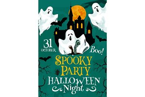 Halloween vector spooky party invitation poster